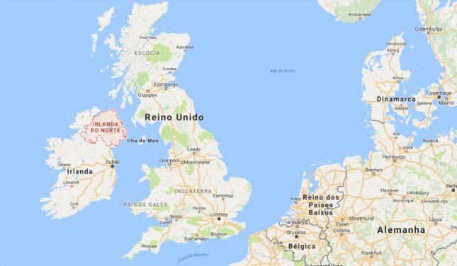 mapa irlanda do norte