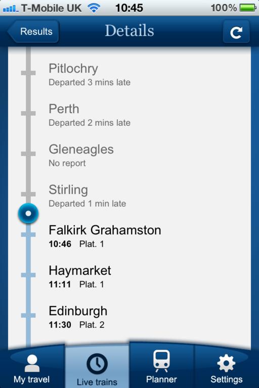 Aplicativo da National Rail para acompanhar ao vivo o trajeto que está sendo feito pelo trem!