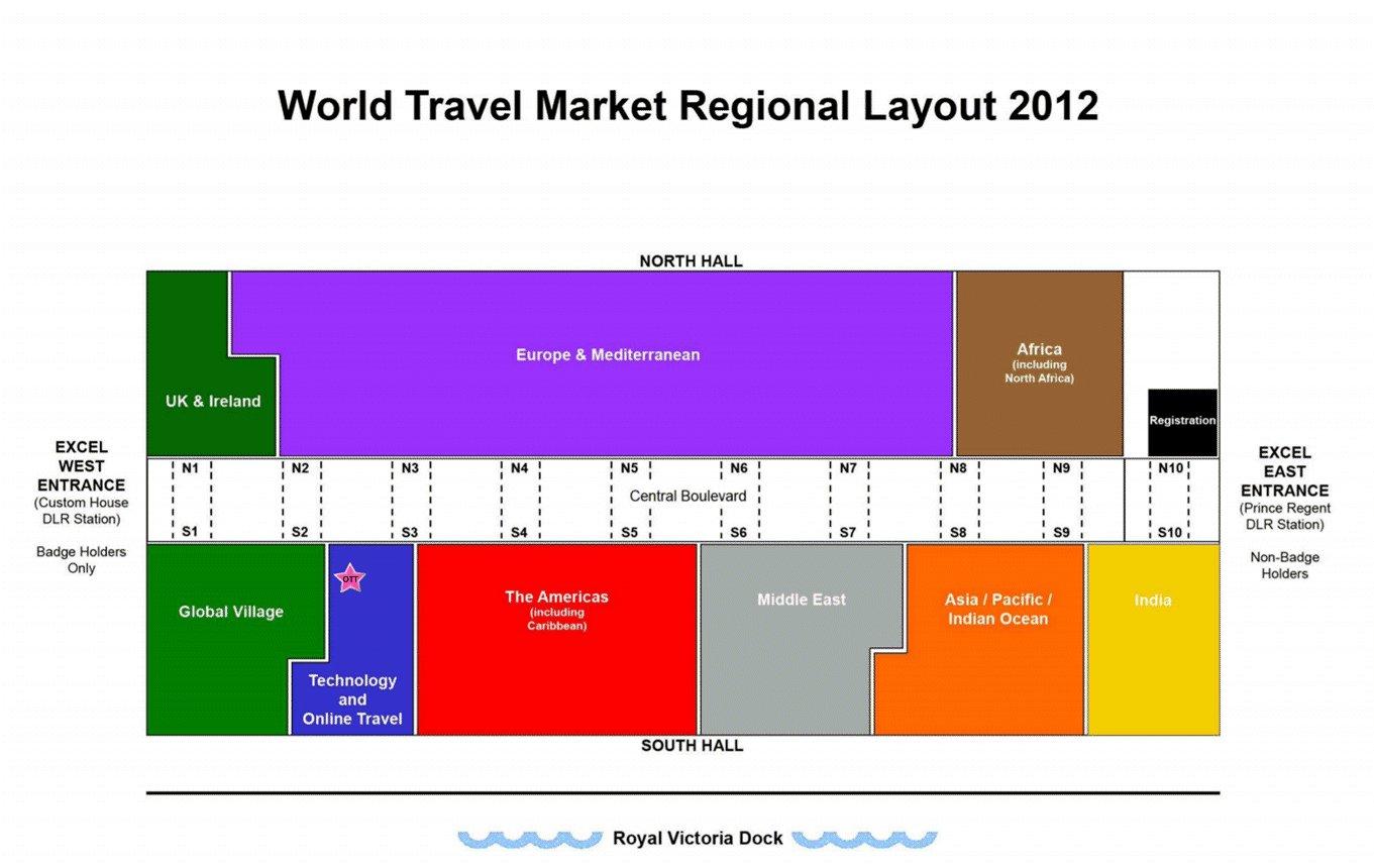 A distribuição dos stands no WTM em Londres