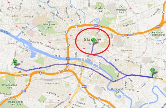 Legenda: (A) Glasgow Queen Stration, (B) Celtic Park e (C) Ibrox Stadium