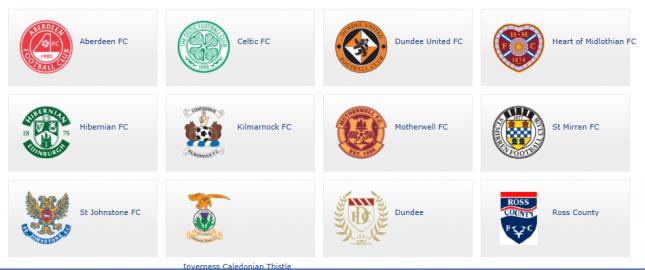 As equipes que fazem parte da Scottish Premier League atualmente
