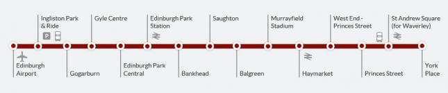 trajeto tram edimburgo