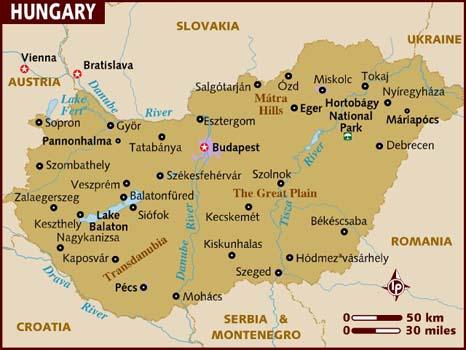 mapa hungria